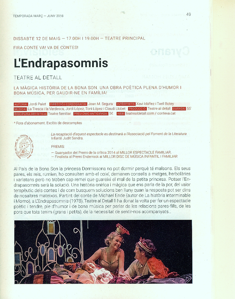L'Endrapasomnis per Teatre al Detall amb la Tresca i la Verdesca al Teatre Principal amb el marc de 6a Fira Conte va! va de contes